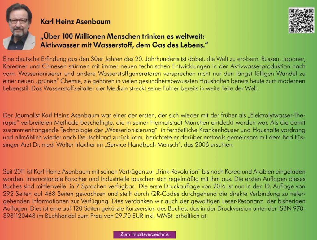 Buchruecken Elektroaktiviertes Wasser von Karl Heinz Asenbaum - Juli 2019