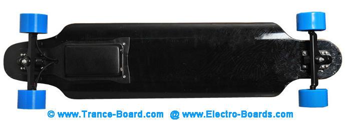 Electric Skateboard longboard with Motor In Wheel bottom view TranceBoard