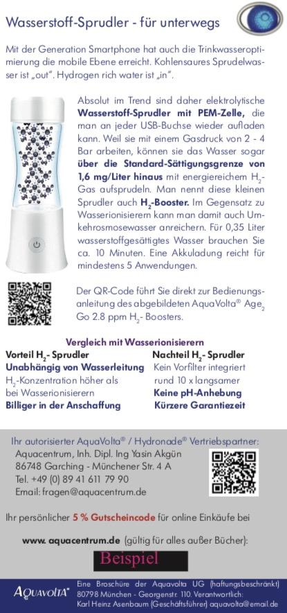 Faltfllyer Wasserstoff-Wasser und AquaVolta Produkte inkl Gutscheincode S5