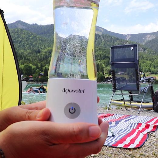 Age2go 2.8 Wasserstoff Generator Camping Walchensee am Strand mit Bergpanorama