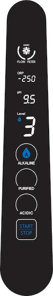 AquaVolta Elegance Wasserstoff-Wasser-Generator Bedienfeld - Stufe Alkaline 3 600