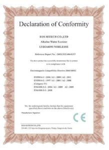 EOS Declaration of Conformity Alkaline Water Ionizer 8090 Certificate