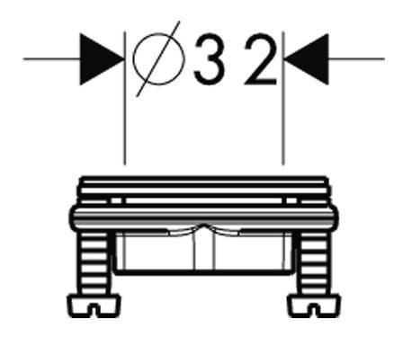 Skizze Hansgrohe-Schaftbefestigung fuer Standarmaturen 32mm mit Konterschrauben