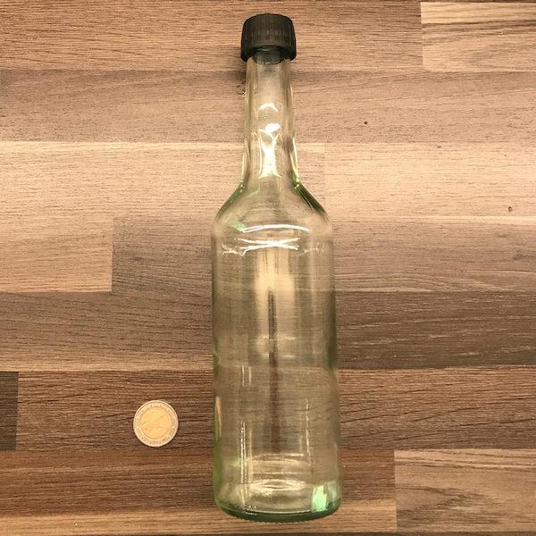 Wasserflasche 500ml aus Glas - klar - inkl - Schraubdeckel 600