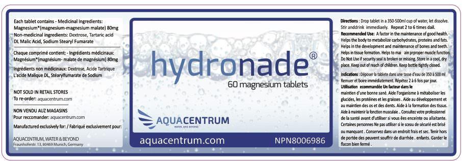 Hydronade Label Magnesium-Brausetabletten zur Herstellung von Wasserstoffwasser