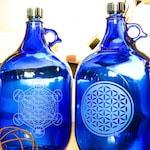 Gravierte 5 Liter Wasserflaschen blau kobaltglas Quellwasser 150