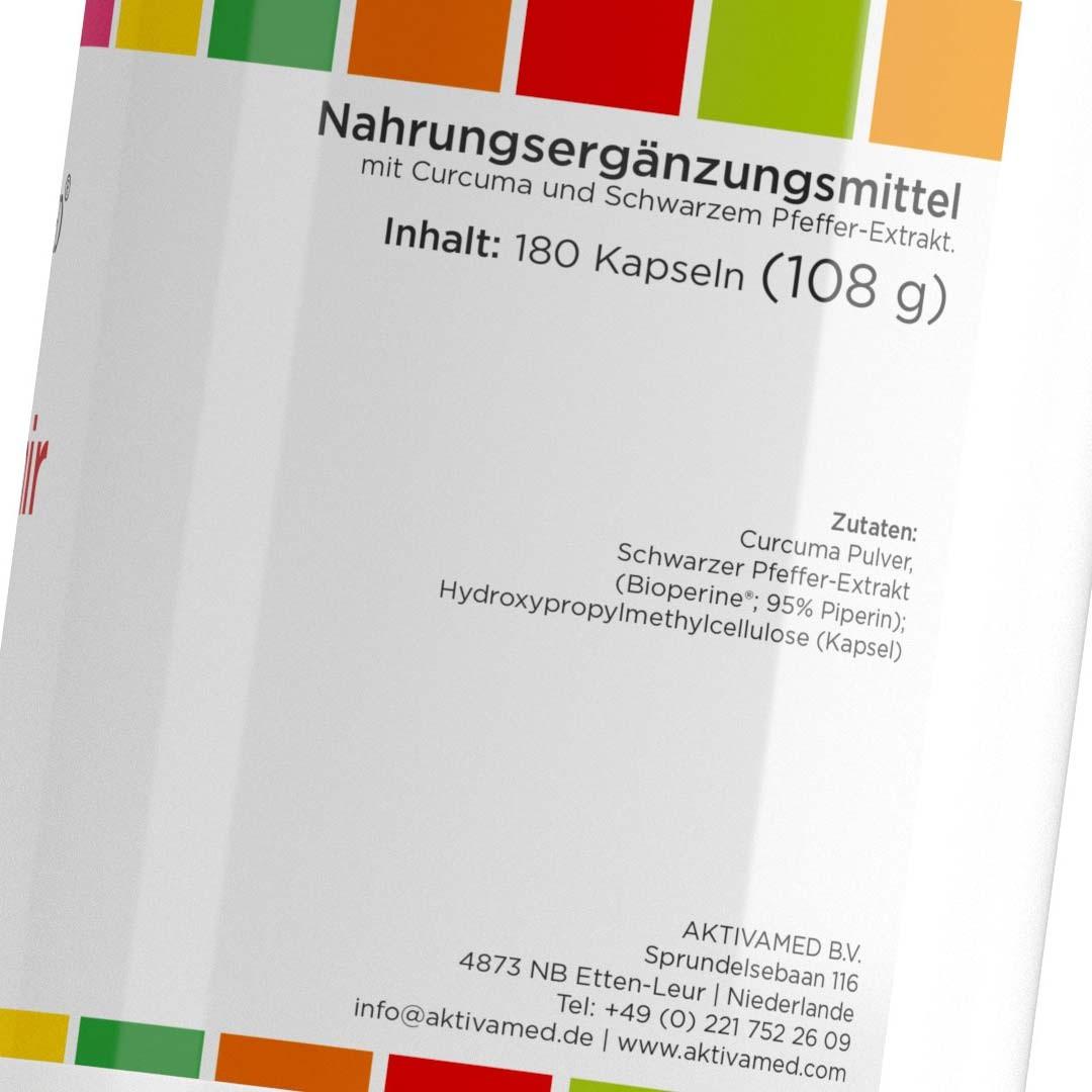 Curcumir -Etikett 1 - 500mg Curcuma mit 10mg Piperin verstaerkt - 180 Kapseln