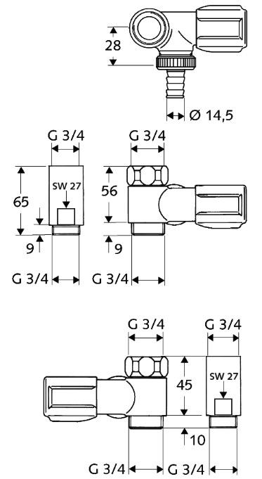 Technische Daten SCHELL COMFORT NA-Ventil chrom f Wandbatterien 3-4 ZollAnschluss rechts