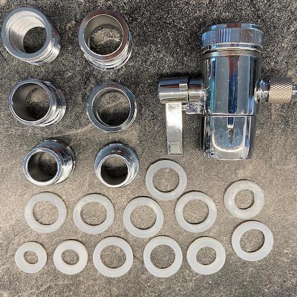 Umschaltventil mit 6 verschiedenen Adaptern M22 x 16-18-20-22-24 lang und halbzoll Gewinde 600