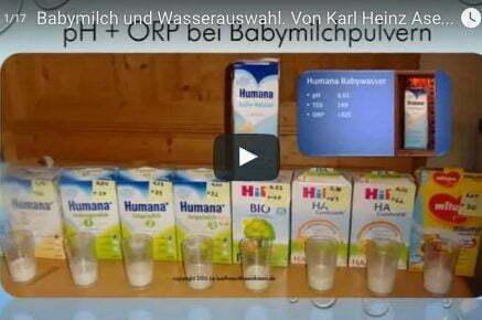 Babymilch und Wasserauswahl