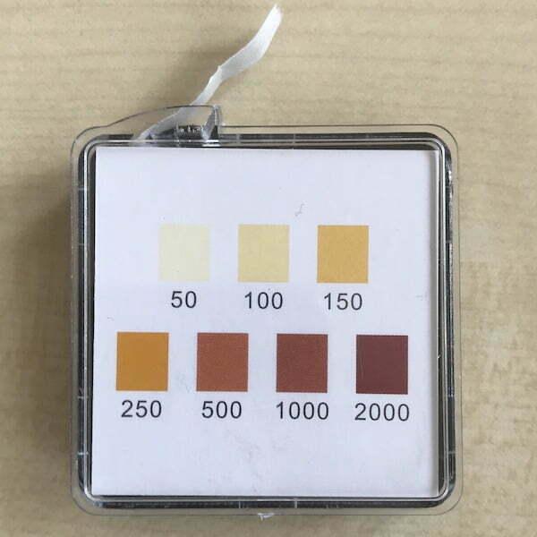 Messstreifen Aktivchlor bis 2000ppm FAC Hypochlorige Säure und Hypochlorit 600