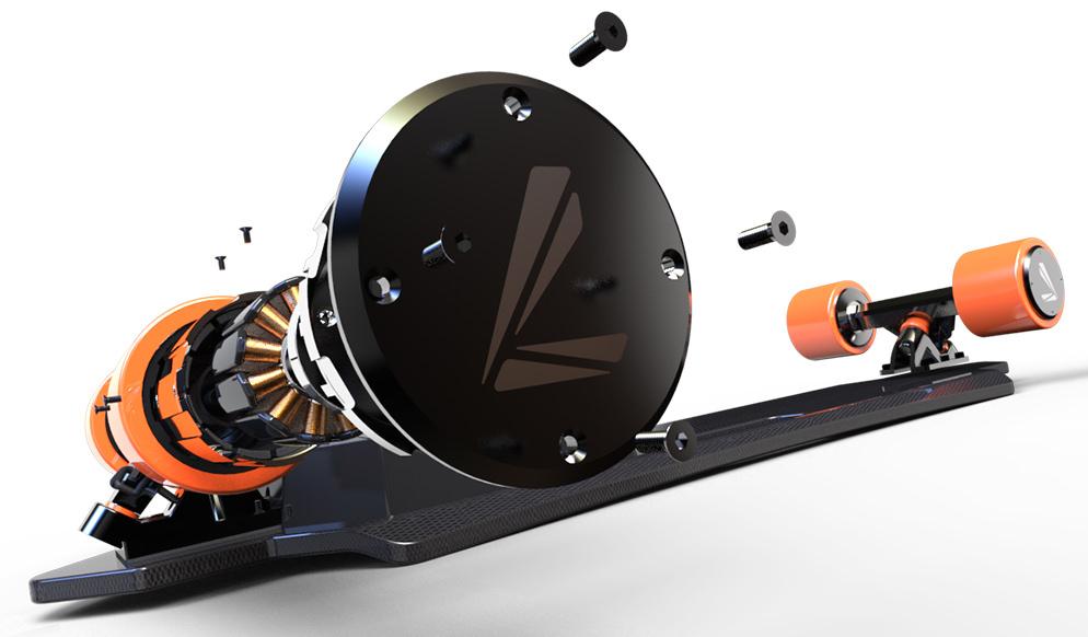 Electroboard electric skateboard with dual hub motor explosion