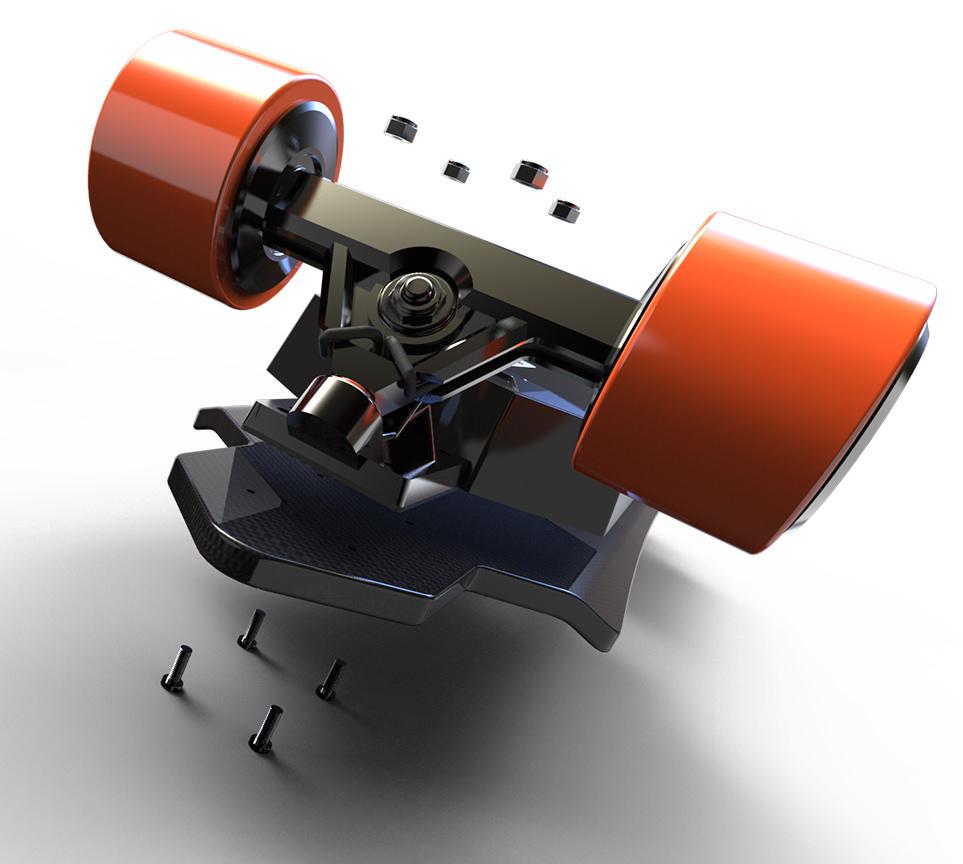Electroboard electric skateboard with dual hub motor installation on any skateboard deck
