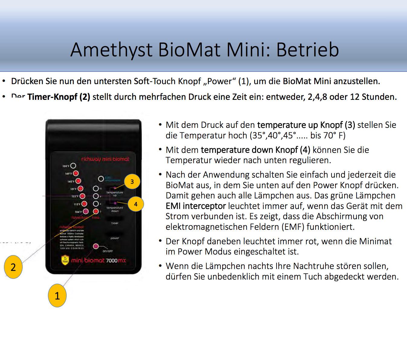 BioMat Amethyst Richway Infrarotmatte Heilmatte MiniMat Bedienelement 900