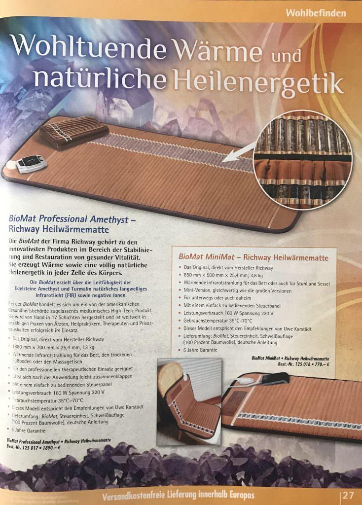 Kopp Verlag -Seite 27 Katalog 03-2017- Richway BioMat Infrarotmatte 1000