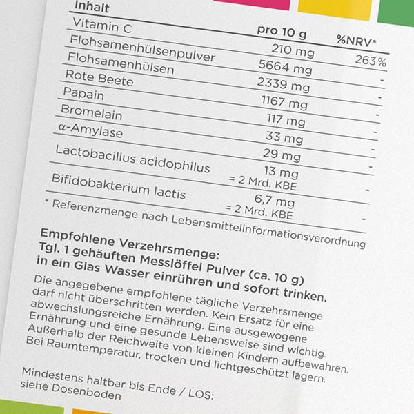 Colomir Pur Aktivamed ballaststoffe enzyme flora darmreinigung - Etikett1 600