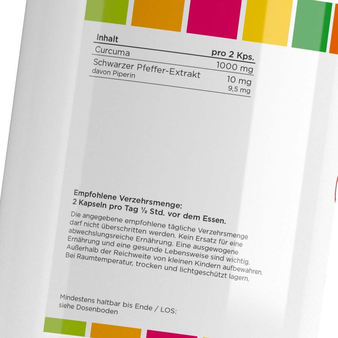 Curcumir Etikett 2- 500mg Curcuma mit 10mg Piperin verstaerkt - 180 Kapseln